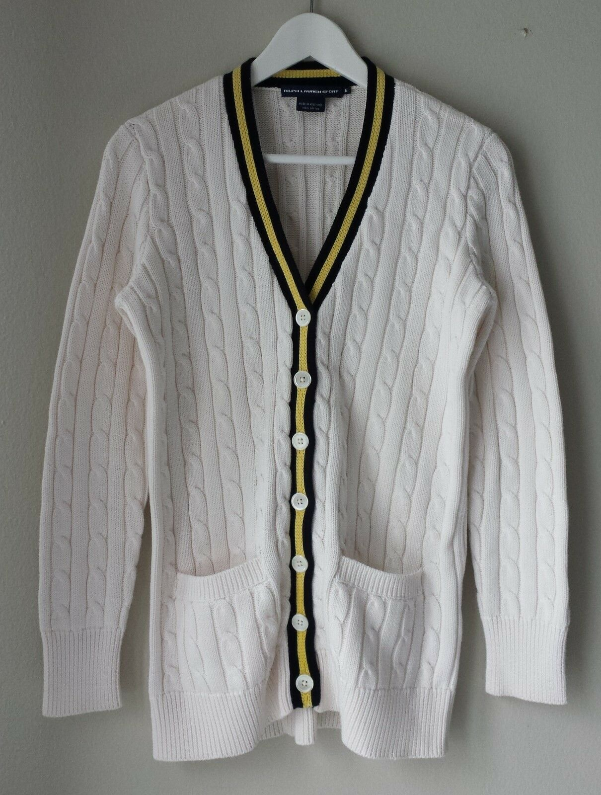 RALPH LAUREN SPORTWomens cable knit cardigan sz M color white 100% cotton NWOT