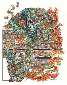 FALL-CAT-with-KITTEN-11x14-Original-Art-Painting-Sherry-Shipley