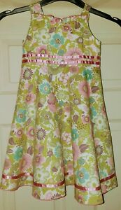 Mini Club Girls All Over Print Floral green pink flowers dress 2-3 Years BNWT