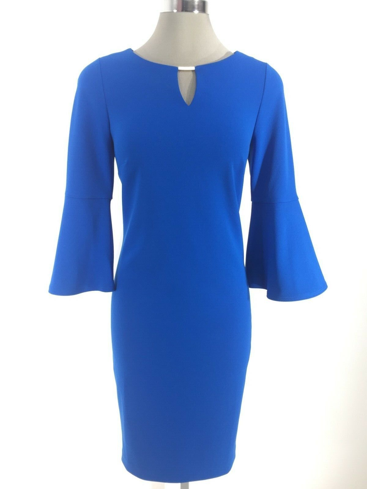 DKNY NWT Exquisite TRUE Blau Dress w 3 4 bell sleeves and Gold neck ornament 4