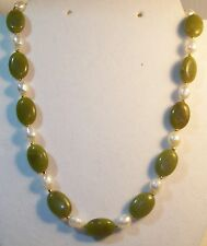 NATURAL FRESH WATER BAROQUE WHITE PEARL AND GREEN JADE NECKLACE