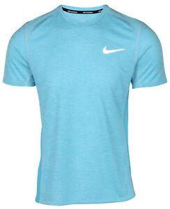Nike Dry-Fit Breathe Miler Men s Running Top Training Tee Light Blue ... 20c364e0deb60