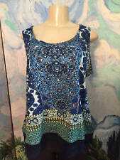 BILA XL NEW BLUE MULTI SEQUIN/BEADED CROCHET HEM SLEEVELESS LAYERING TANK TOP