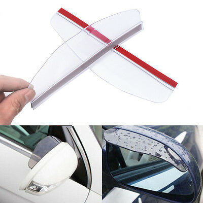 2x Universal Car Rear View Side Mirror Rain Board White Sun Visor Shade Shield