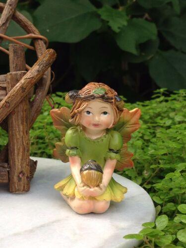 Miniature FAIRY GARDEN ~ HALLOWEEN Fall THANKSGIVING Fairy Girl Figurine w Acorn