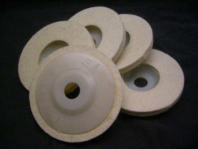 "5 pieces ( 4"" ) 4 inch Round Polishing wheel wool FELT polishers pad pads"