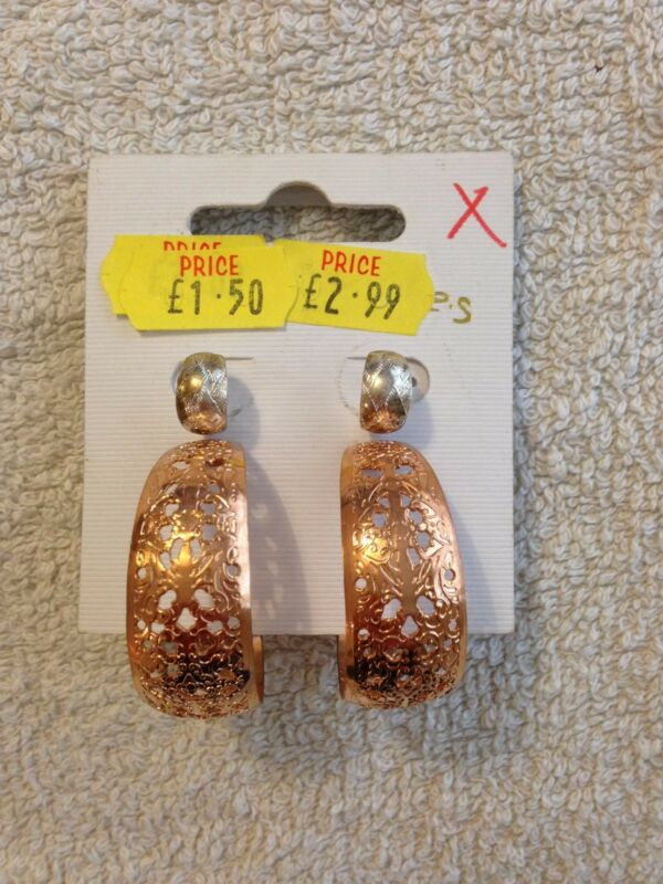 Spring Fashion - Silver / Bronze Hoop Earrings / Studs - 60% Discount!