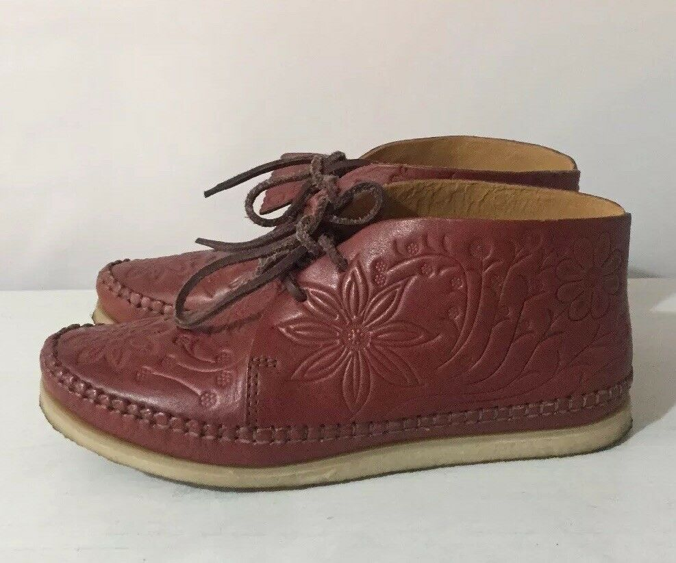CLARKS ORIGINALS YMC Embossed Brown Leather Lace Up Ankle Boots D
