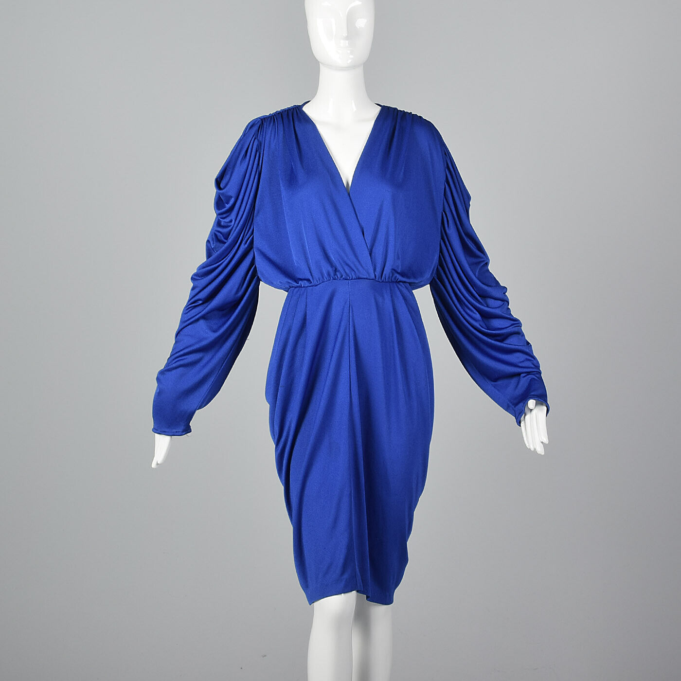 M 1980s Joseph Magnin Blau Harem Dress Long Sleeves Pencil Skirt Evening 80s VTG