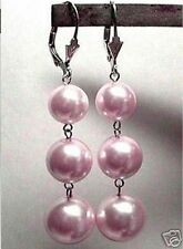10-12-14mm LAVENDER PINK Shell Pearl LEVERBACK DANGLE EARRINGS STERLING SILVER