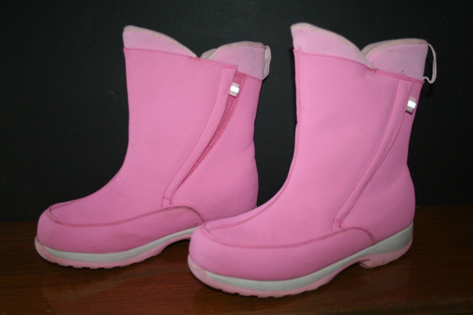 Women's Lands' End Winter Boots 7M PINK EUC Waterproof #30586 Nylon Mid-calf