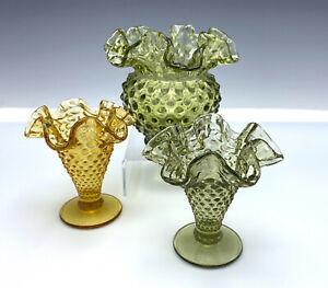 3-Fenton-Ball-Vase-amp-Small-Flared-Vases-Hobnail-Scalloped-Ruffled-Green-Gold