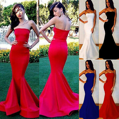 Sexy Sleeveless Long Formal Wedding Evening Cocktail Party Gown Prom Maxi Dress