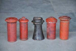 5PC-Antigua-Madera-Hecho-a-Mano-Cilindrica-Forma-Laqueado-Polvo-Cajas