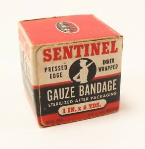 Vintage-NOS-1930-039-s-Sentinel-Pressed-Edge-Inner-Wrapped-Gauze-Bandage-1in-x-6-Yrd