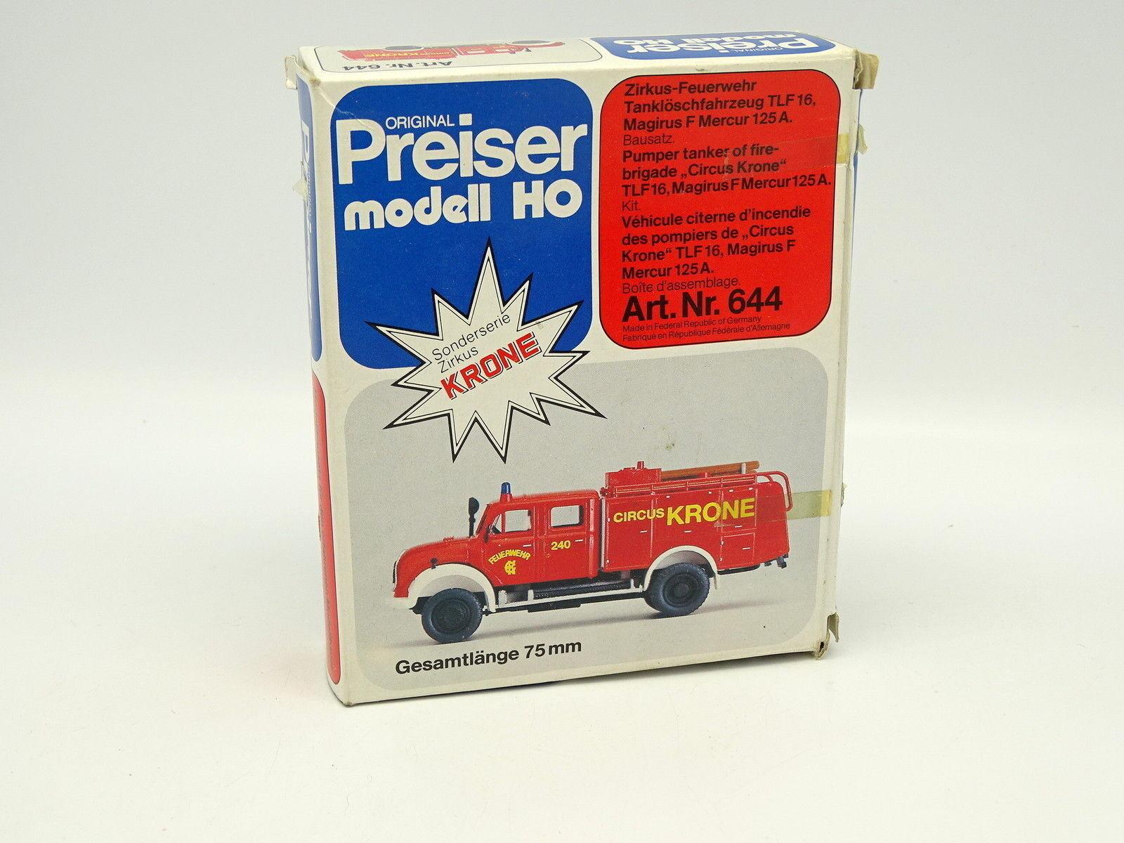 Preiser Kit à monter 1 87 HO - Magirus F Mercur 125A  Pompiers Feuerwehr Krone