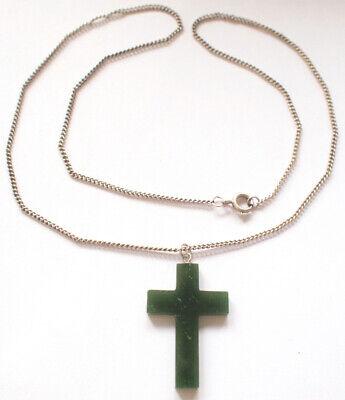 40mmX23mm Genuine Jade 925 Sterling Silver Cross Pendant