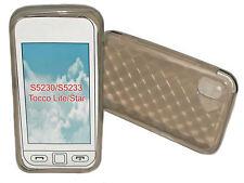 Silikon TPU Handy Hülle Cover Case  Smoke für Samsung S5230 + Displayschutzfolie