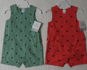 NEW-CARTERS-BOYS-ROMPER-SUNSUIT-ONE-PIECE-NAUTICAL-CRABS-SAILBOATS