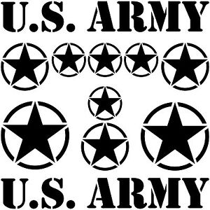 USA Stars & Font Black US Army Navy Car Jeep Tattoo Sticker Decor Film