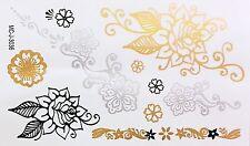 Tattoo Gold Silber Schwarz Einmal Klebe Flash Temporary 10teile Armband WOW 3036