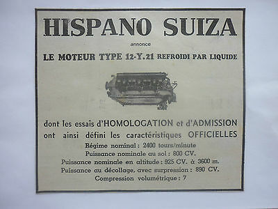 36-37 PUB HISPANO-SUIZA MOTEURS AVIATION MOTEUR 12-Y21 AERO ENGINES ORIGINAL AD