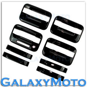04-14-Ford-F150-Truck-Gloss-Black-4-Door-Handle-keypad-no-PSG-keyhole-Cover