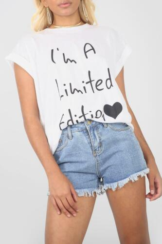 Ladies Womens I Am Limited Edition Oversize Turn Up Sleeve Baggy T Shirt Tee Top