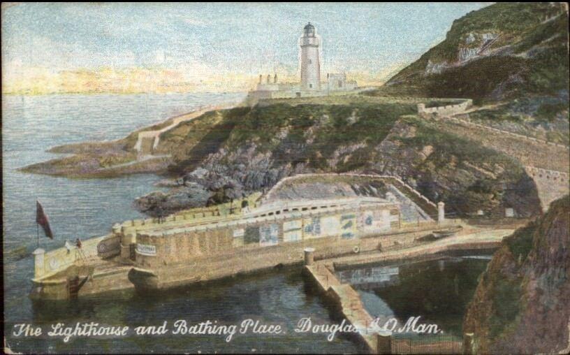 Douglas Isle of Man Lighthouse & Bathing Place c1910 Postcard
