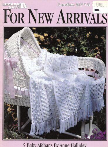 For New Arrivals 5 Baby Afghans #2713 Leisure Arts Crochet Pattern Leaflet