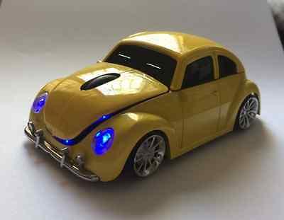 3D VW Beetle Car 2.4G wireless Mouse USB Optical Bug MAC PC Computer mice Yellow