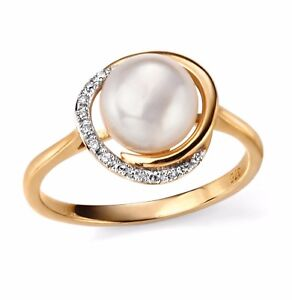 82b138240 9CT Yellow Gold Diamond and Freshwater Pearl Ring with Giftbox | eBay
