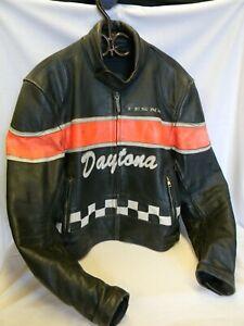 VINTAGE-ANTIQUE-DAYTONA-PADDED-MOTORCYCLE-RACING-LEATHER-JACKET-COAT
