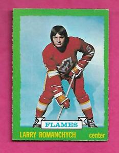 1973-74-OPC-185-FLAMES-LARRY-ROMANCHYCH-ROOKIE-EX-CARD-INV-A9813
