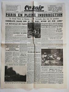 N1196-La-Une-Du-Journal-ce-soir-24-aout-1944-Paris-en-pleine-insurrection