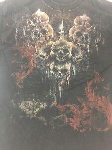 Men-039-s-Skulls-Graphic-Black-T-Shirt-Size-Medium