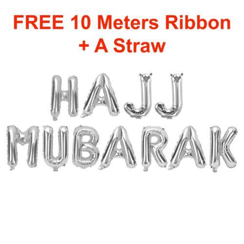 """16/"""" Rose gold Silver Eid Mubarak Hajj Mubarak Foil Balloons Islam Muslim Balooon"""