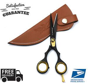 Professional-Hairdressing-Barber-Salon-Hair-BLACK-Scissors-Shears-Razor-Blade