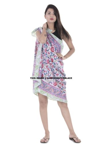 Hand Printed Beach Sarong Dress Wrap Swimwear Beach Cover Up Scarf Sun Dresses
