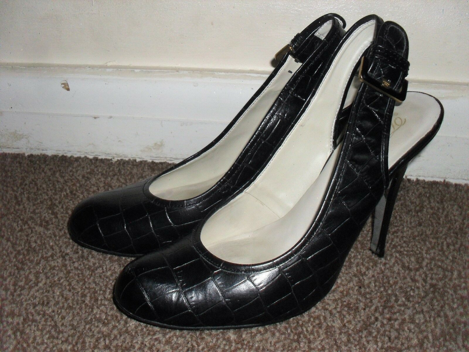 LADY'S TED BAKER BLACK HIGH UK HEELED SNAKESKIN EFFECT SHOES UK HIGH SIZE 7 a1b148