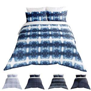 Adam Home Shibori Style White Blue Indigo Duvet Cover With