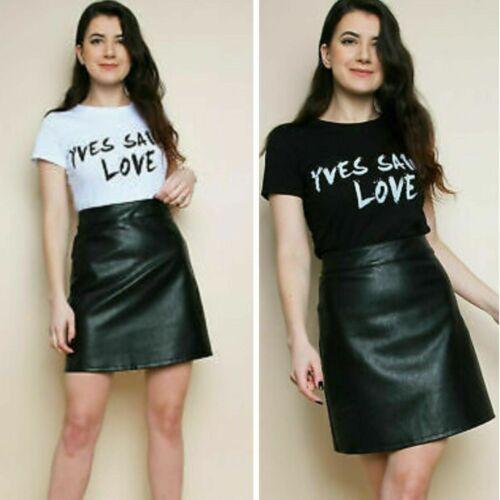 Womens  Yves Saint Love Slogan Print Round Neck Short Sleeve Top Ladies T-Shirt