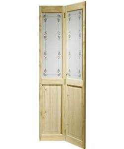 Internal Knotty Pine Victorian Bi-fold Door with Bluebell Glass ...