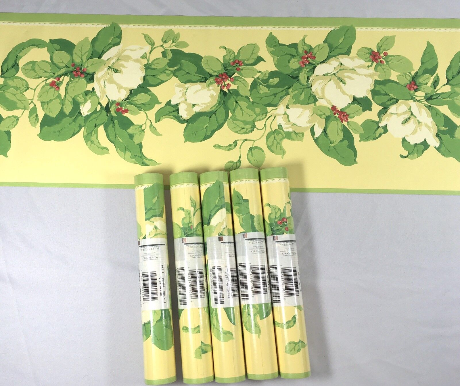 Wallpaper Border GRAMERCY Green Yellow Floral White Bloom Berries Vine Lot of 5