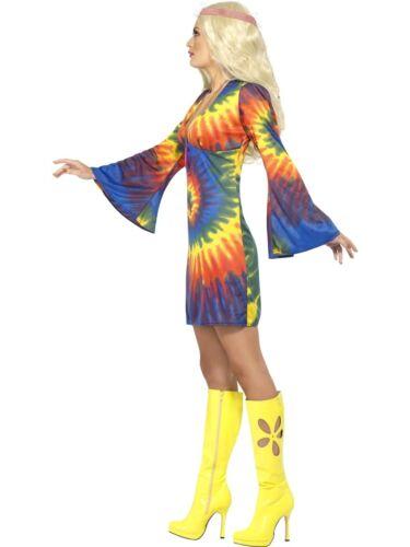 Donna 60s 70s Tie Dye Hippy Costume Hippie Outfit Da Smiffys