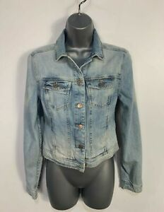 WOMENS NEW LOOK SIZE UK 8 LIGHT BLUE WASH CASUAL SHORT DENIM JEAN JACKET COAT
