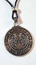 "ODIN'S Ravens Huginn Muninn Rune's,Pewter Talisman on 18""+ Beaded Cord Lace   a1"