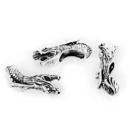 Metal perlas tubos spacer Antik plata dragón cabeza 38x14mm 1x