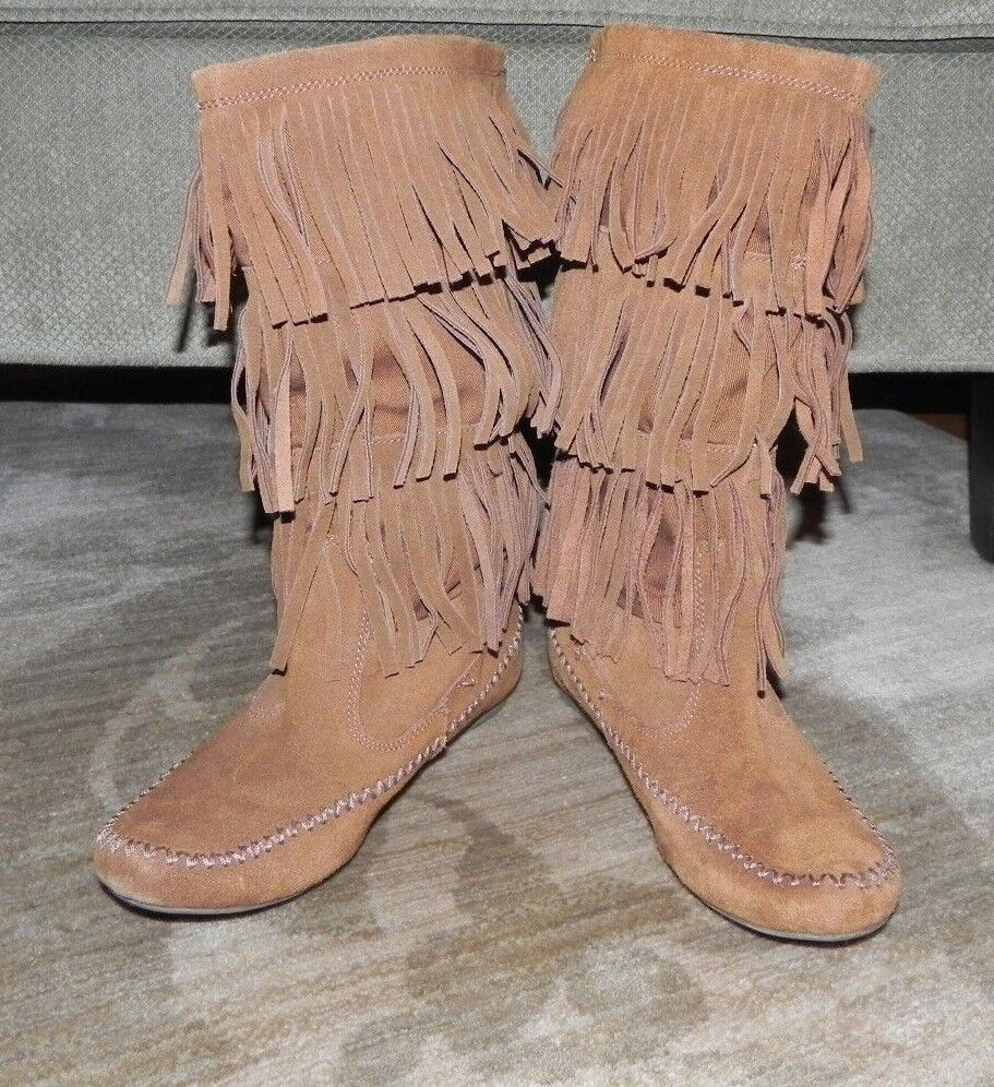 LAURA CONRAD - FRINGED 13  KNEE BOOTS – CHESTNUT SUEDE LEATHER – SIZE 8