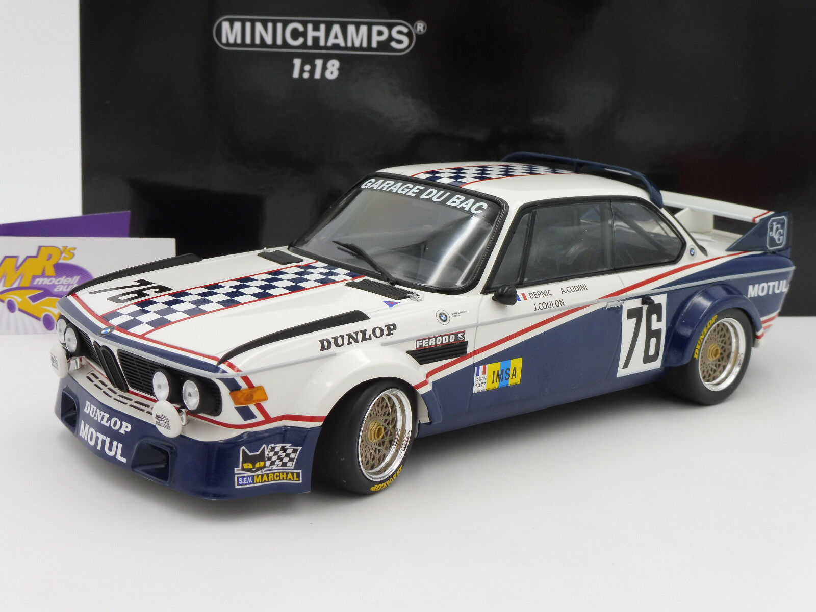 Minichamps 155772576   BMW 3.0 CSL no. 76 24h. le Uomo 1977 depnic-Coulon 1 18